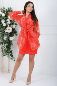 Rochie Monisha portocalie cu blazer detasabil din organza