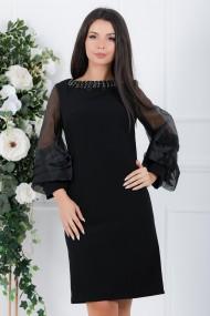 Rochie de seara midi Ejolie neagra cu maneci bufante din organza