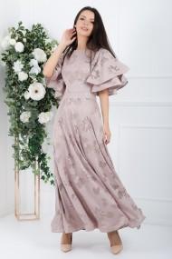 Rochie lunga Natalia roz cu maneci din volane