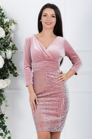 Rochie Claudia roz din catifea cu paiete