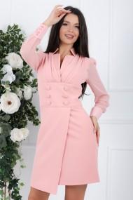 Rochie Sandra roz cu fusta scurta cu aspect petrecut si nasturi decorativi in talie