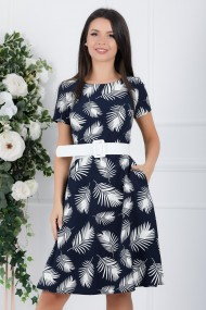 Rochie de zi midi Ejolie bleumarin cu frunze albe imprimate