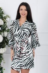 Rochie Cosmina alba cu imprimeu negru si maneci transparente cu mansete late