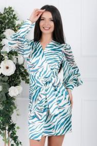 Rochie Cosmina alba cu imprimeu turcoaz si maneci transparente cu mansete late
