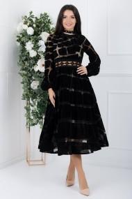 Rochie de seara midi Ejolie neagra din catifea cu brau transparent din dantela macrame