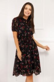 Rochie Aliona neagra din voal cu flori rosii