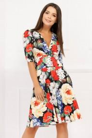 Rochie Adelina multicolora cu imprimeu floral