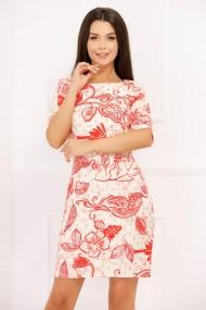 Rochie Anca alba cu imprimeu rosu