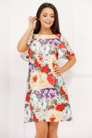 Rochie Aura crem cu imprimeu floral multicolor