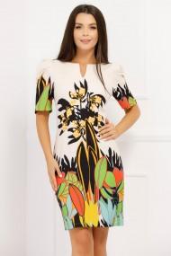 Rochie Bianca ivoar cu imprimeu multicolor