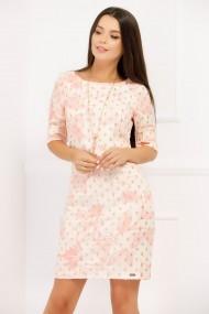 Rochie Anca alba cu imprimeu roz