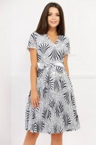 Rochie de zi midi Ejolie alba plisata cu imprimeu bleumarin