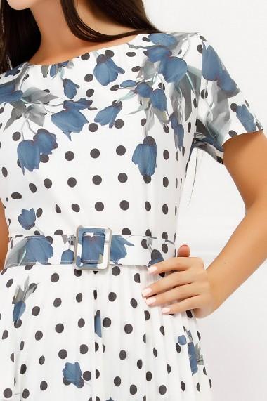 Rochie Antonia alba cu buline din bumbac cu fusta plisata si imprimeu albastru
