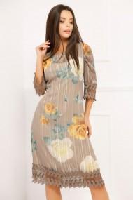 Rochie Codruta maro cu imprimeu floral si bordura din dantela