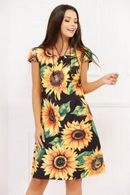 Rochie Lidia neagra cu imprimeu floral galben