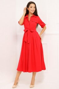 Rochie Crina rosie din bumbac tip camasa