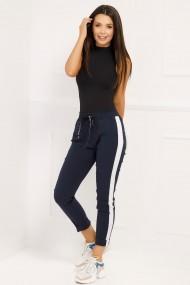 Pantaloni sport Aniela bleumarin cu dunga alba