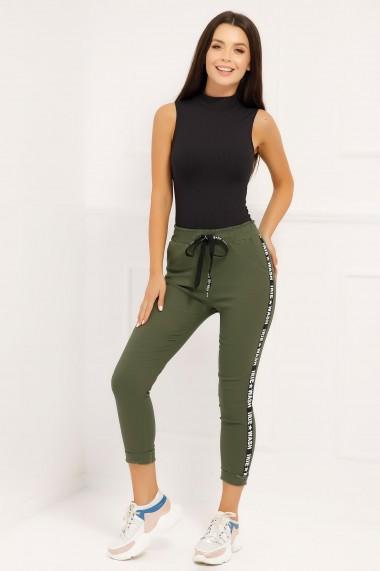 Pantaloni sport Carina kaki cu dunga neagra