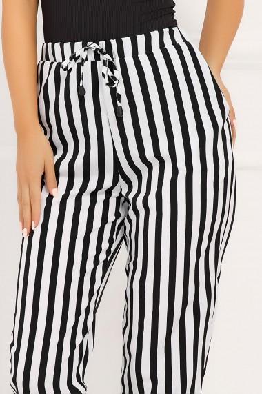 Pantaloni Miriam albi cu dungi negre