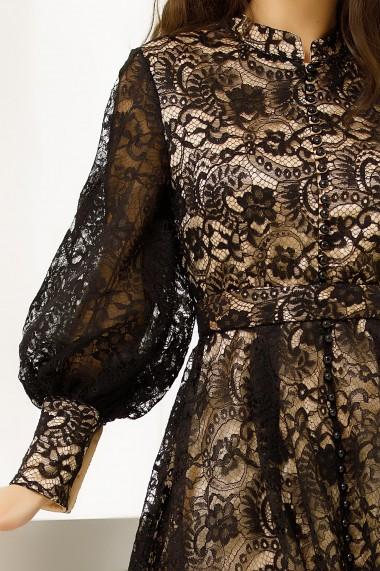 Rochie Calina neagra din dantela cu maneci bufante