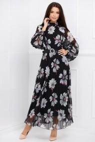 Rochie lunga Hattie neagra din voal plisat cu imprimeu