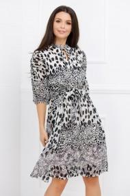 Rochie de zi midi Ejolie alba cu imprimeu negru si paiete