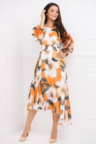 Rochie de seara midi Ejolie portocalie asimetrica cu imprimeu floral