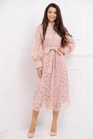 Rochie de seara lunga Ejolie roz din dantela cu maneci bufante