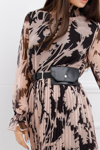 Rochie Penelopa neagra din voal plisat cu imprimeu crem