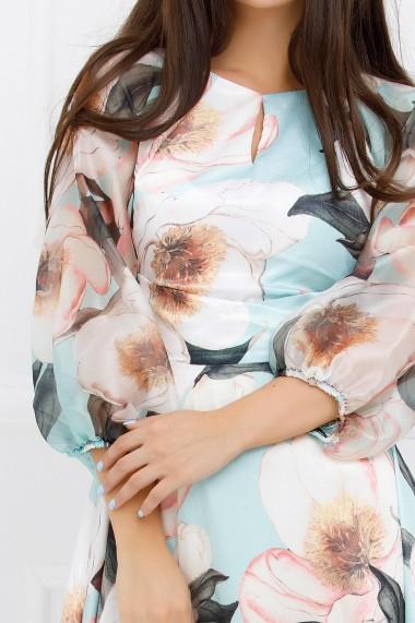 Rochie midi Ejolie vernil asimetrica cu imprimeu floral