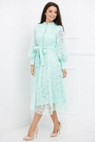 Rochie de seara lunga Ejolie vernil din dantela cu maneci bufante
