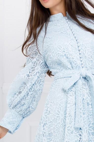 Rochie Calina bleu pastel din dantela cu maneci bufante
