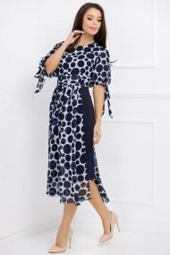 Rochie de seara lunga Ejolie bleumarin cu aplicatie din voal alb cu buline