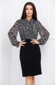 Rochie Miruna neagra cu bluza din voal cu imprimeu alb