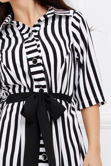 Rochie de zi midi Ejolie alba cu dungi negre