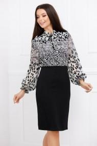 Rochie Miruna neagra cu bluza alba din voal cu imprimeu si paiete