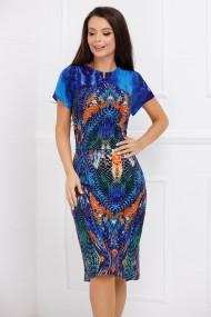 Rochie de zi midi Ejolie albastru electric cu imprimeu caramiziu