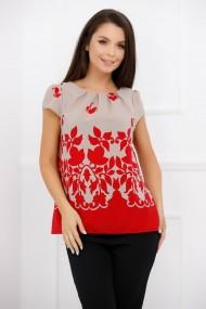 Bluza Adela crem cu imprimeu rosu