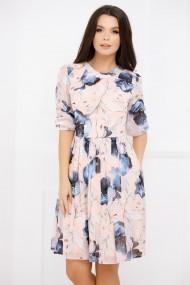 Rochie Isotta roz pal din voal cu imprimeu albastru