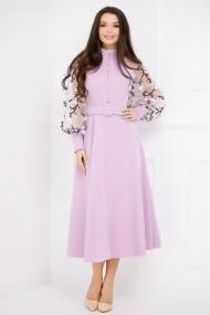 Rochie Kimora lila cu maneci bufante si nasturi tip perla