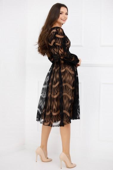Rochie de seara midi Ejolie neagra din tull cu insertii de catifea si jupon crem