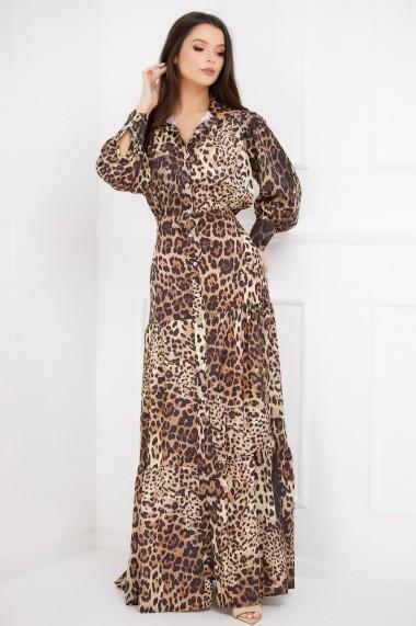 Rochie lunga Sonia maro cu imprimeu leopard