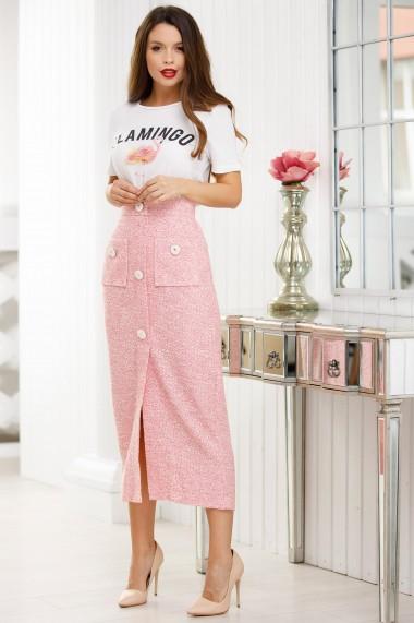 Fusta Tania roz din stofa bucle