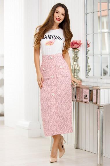 Fusta lunga Ejolie roz din stofa bucle cu insertii de fir lame