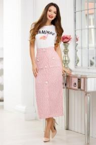 Fusta Tania roz din stofa bucle cu insertii de fir lame