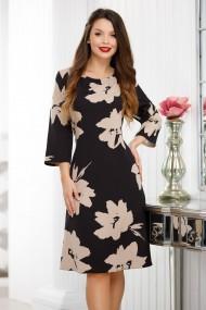 Rochie de zi midi Ejolie neagra cu flori bej