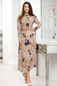 Rochie de zi lunga Ejolie crem cu frunze imprimate