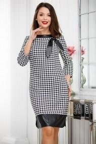 Rochie de zi midi Ejolie neagra cu imprimeu pepit