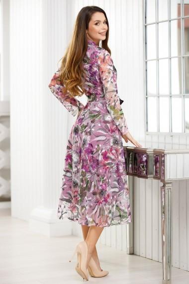 Rochie Galatea lila cu imprimeu