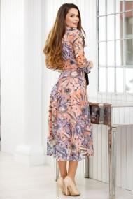 Rochie Galatea somon cu imprimeu lila